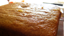 buttermilk-wheat cake with caramel glaze.